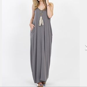 Dresses & Skirts - Grey V neck cami side pocket maxi dress